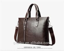 Wholesale Fashion Business Mens Genuine Leather Brand Briefcases Laptop Handbag Brown Messenger Bag