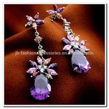 5 Colors Zircon Earrings, Multicolor AAA Zricon Earrings, 18K Platinum Plated Zircon Vintage Luxury Flower Tear Earrings Jewelry
