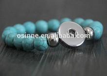 China Alibaba New arrival interchangable snap button turquoise beads bracelet NAB011