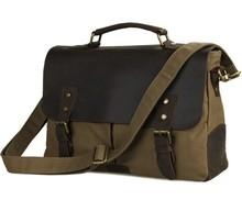 9013N 16OZ Genuine Leather Flap And Trim Mens Canvas Military Bag