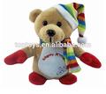 Promoção presente de natal bonito urso de pelúcia, urso de pelúcia com chapéu x'mas