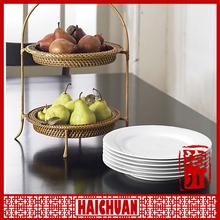 Plain white ceramic porcelain square custom design dessert/bread/salad/dinner service plate dish tray sets