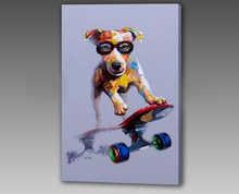 Modern fashion pet,skating dog oil painting on canvas