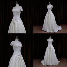 Gorgeous detachable alabast satin wedding dress front split
