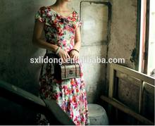 Hot sale flower printing dress designs 2014 fashion women clothes