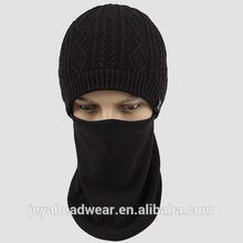 Winter knitting pattern hat striped knitted beanie neck guard warm beanie