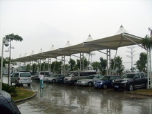 Car awning membrane structure, car parking, parking shed