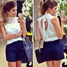 White lace and chiffon blouse women sleeveless blusas JH-BL-175
