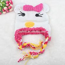 Cartoon design kids winter cap, fashion hanmade knitting hat for baby