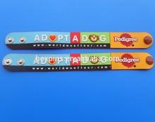 adopt a dog soft pvc wrist bands, pet dog label pvc wrist bands
