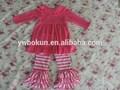 bambini fascia di età fantasia maglia abito di cotone set baby ingrosso ragazze boutique hot pink vestito volant e strisce pantaloni set