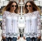 New Women White Crochet Lace Shirt Female Floral Lace Long Sleeve Chiffon Blouse Lace Blusas JH-BL-161
