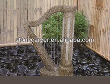 Início jardim fonte de água de pedra água cordas projetado instrumento Musical harpa