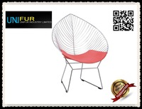 lovely leaflike wire lounge chair, replica round shape arper leaf chair with armrest