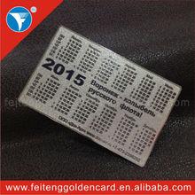 profesyonel metal gümüş cep boyutu takvim kartları toptan malzeme