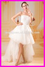 real made Guangzhou factory lace asymmetrica wedding dress