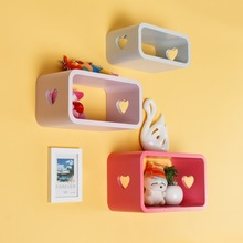 Wooden Wall Cube Shelves;Living Room Carved heart Shape Furniture;Kids lovely Bookcase