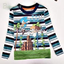 hot sale cartoon clothing child blue cat shirts long sleeve blue cat tee t shirt polo