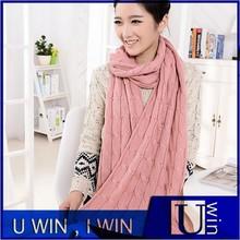 2015 Korean women fashion pink knit winter thick scarf