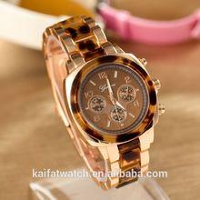 2014 rose gold Two-Tone reloj alloy Geneva watch