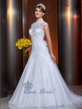 Custom service 2015 vestido de noiva ball gown cap sleeve white lace romantic lace wedding dresses high neck