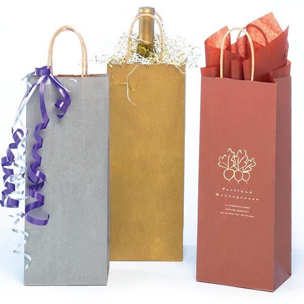 Recyclable kraft paper jute wine bag 100