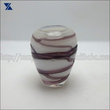 White With Purple Swirl Glass Vase Mouth Blown Glass Vase