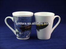 ceramic mug ,V shape ,hand painted christmas coffee mug