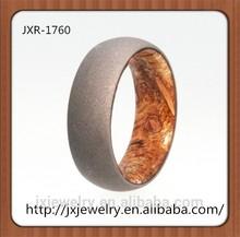 2015 fashionable jewelry wood inlay titanium ring