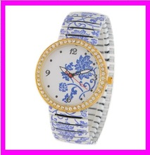 K9182 lady watch imitation ceramic alloy printing flowers watch