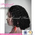 caliente la venta corta humanos pelucas de pelo rizado negro para la mujer