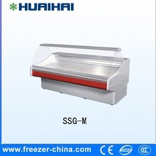 supermarket curved glass door freezer for seafood and cooked food