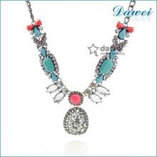 2015 initial design fashion costume wholesale rhinestone necklace set