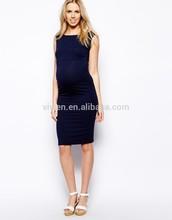 2015 Latest New Fashion Modal Fabric Soft Sexy Bodycon Mini Women Big Size Navy Maternity Sleeveless Bardot Dress