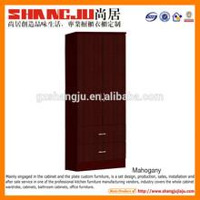 Red brown color wardrobe compartment design