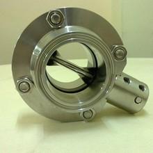 Sanitation grade tri-clover butterfly valve pull hande