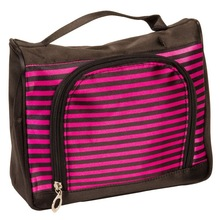 Black Satin Feel Travel Cosmetic Make Up Case Bag w/ Hot Pink Stripes