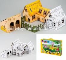 Happy diy painting toy 3D puzzle farm ECO paper include color