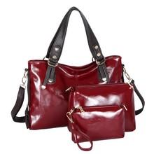 2015 3 pcs set handbag with Oil wax leather with lots of pocket Baigou bag