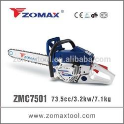 Made in china 73.5cc ZMC7501 zomax chain saw, industrial chain saw, gasoline chain saw