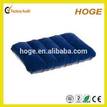 Stock dark blue inflatable flocked cushion for travel