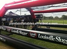 Baseball training place batting cage,Large on grassland netting goal type inflatable batting cage for sale