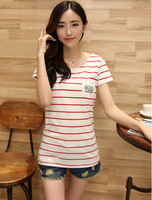 china wholesale Adults Age Group spandex women tee Plain popular o-neck red stripe white young girl t shirt
