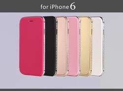 Metal frame crystal flip leather phone case for iphone 6