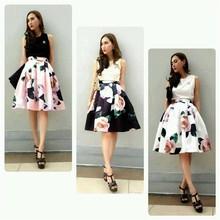 Rose print high waist tutu skirts,high fashion womens clothing