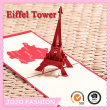 paper cutting Eiffel tower shape greeting card writing