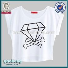 fashion 180g cotton/soandex ladies' t shirt crop tops design wholesale new fashion design girls t shirt