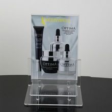 High quality clear acrylic desktop display stand for cosmetic product promotion