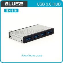 Aluminum USB HUB 3.0 with 4 ports and 5Gps data transfer speed