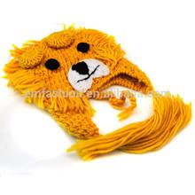 Fashion Personality Crochet Lion Animal Children Acrylic Knit Earflap Hat